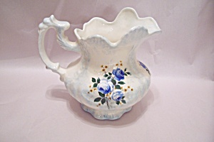White Porcelain Pitcher With Blue Roses Decoration (Image1)