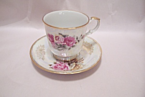 Rose Pattern Fine China Cup & Saucer