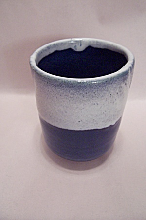 Handthrown Blue & White Glazed Art Pottery Tea Mug