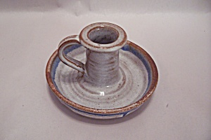 Handthrown Multi-glazed Art Pottery Candleholder