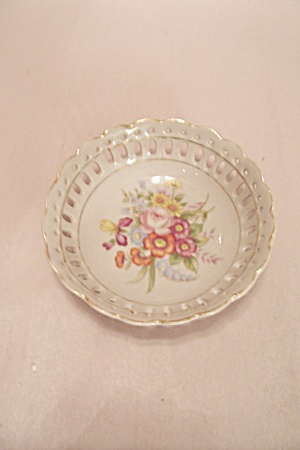 Occupied Japan Lattice Rimmed Floral Motif Small Bowl (Image1)