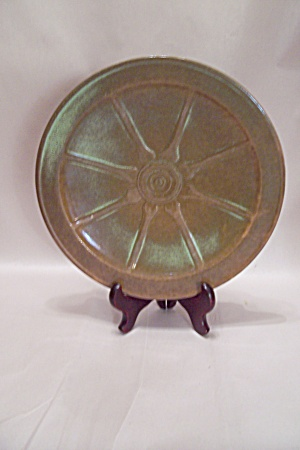 Frankoma Wagon Wheel Prairie Green Dinner Plate