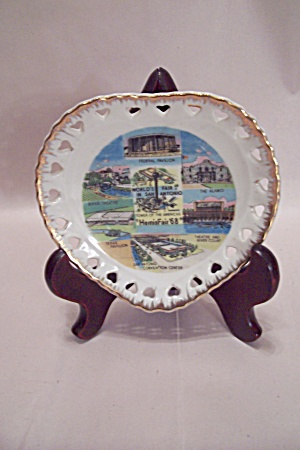 World's Fair In San Antonio 1968 Heart Shaped Plate