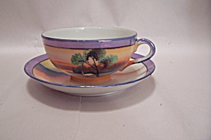 Occupied Japan Handpainted Lustre Teacup & Saucer Set (Image1)