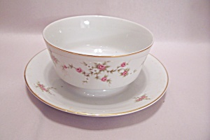 Rosette Fine China Gravy Bowl With Attached Plate (Image1)
