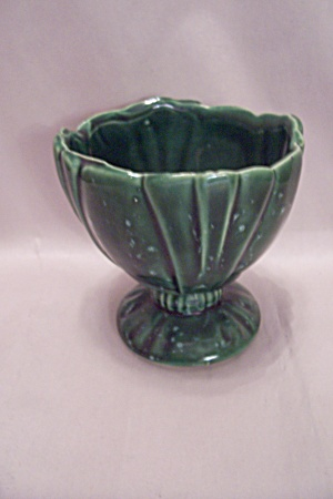Mccoy Dark Green Footed Pottery Flower Pot