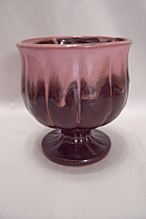 Japanese Pink & Brown Pottery Pedestal Flower Pot (Image1)