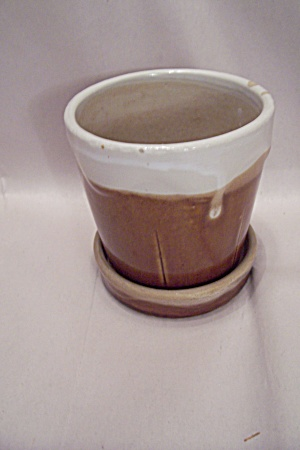 Brown Drip Pottery Flower Pot (Image1)