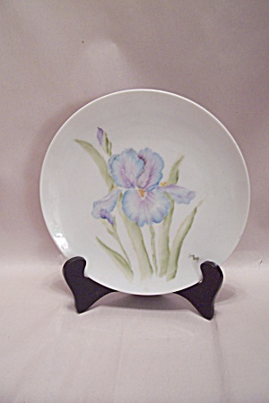 Handpainted Iris Collector Plate