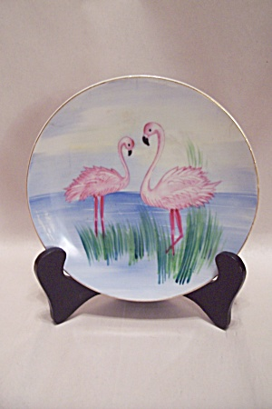 Occupied Japan Handpainted Flamingo Collector Plate