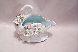 Occupied Japan Porcelain Swan Cache Pot