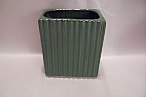Green Pottery Rectangular Tall Planter/Cache Pot (Image1)