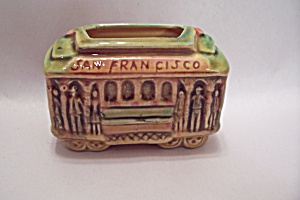 San Francisco Souvenir PorcelainTrolly Toothpick Holder (Image1)