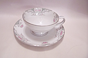 Mikasa Valentine Pattern China Footed Cup & Saucer Set