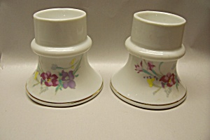 Pair Of White Porcelain Egg Holders With Floral Motif