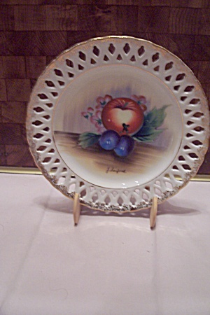 Handpainted Lattice Rim China Collector Plate