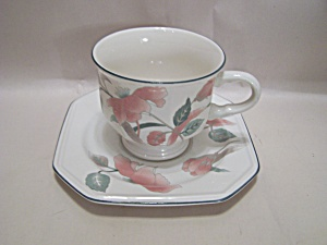 Mikasa Silk Flowers Pattern China Footed Cup & Saucer