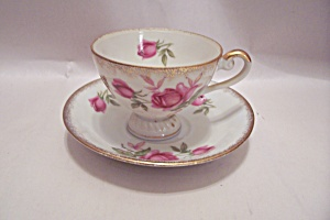 Lefton China Red Rose Pattern Demitasse Cup & Saucer