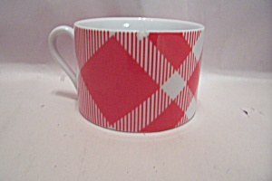 Fitz & Floyd Red And White Plaid Pattern Fine China Cup