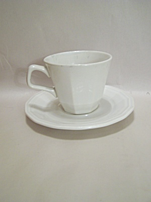 Homer Laughlin White China Multi-sided Cup & Saucer Set