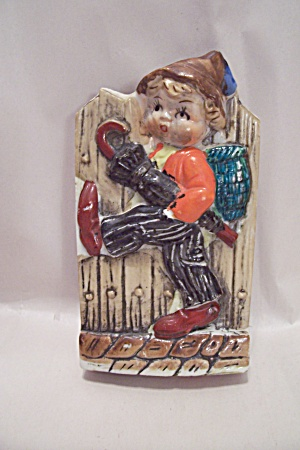 Occupied Japan Little Dutch Boy Porcelain Wall Pocket