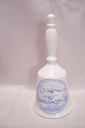 White Porcelain Collector Bell With Winter Scene (Image1)