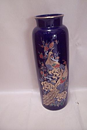 Imperial Porcelain Cobalt Blue Peacock Motif Vase Porcelain And Pottery Made In Japan At Bg S