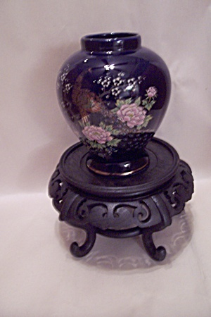 Black Porcelain Peacock Vase With Wood Stand