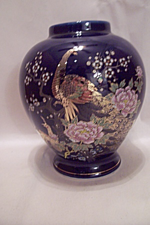 Japanese Cobalt Blue Porcelain Peacock Vase Porcelain And Pottery Made In Japan At Bg S