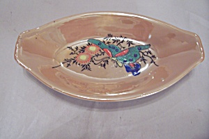 Japanese Peach Lustre Butterfly Boat-shaped Dish