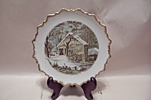 Sale Antique Currier /& Ives Collector/'s Plate Old Homestead in Winter professional wooden frame Gold trim 24 Kt Collectible Plate Great Gift