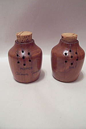 Gilmer, Tx Souvenir Wooden Salt & Pepper Shakers Set