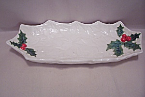 Lefton Fine China Oval Christmas Dish