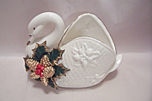 Porcelain White Cristmas Decorated Swan (Image1)