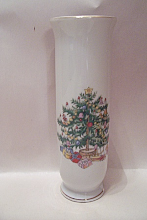 Lefton Fine China Christmas Themed Footed Vase