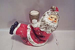 Porcelain Christmas Santa Claus Candle Holder