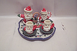 Miniature Porcelain 7-piecedecorative Christmas Tea Set