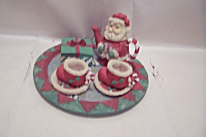 Miniature 4-piecedecorative Porcelain Christmas Tea Set