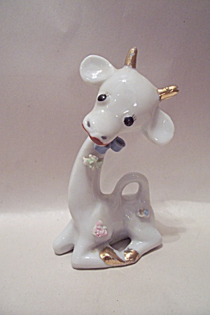 Occupied Japan Porcelain Cow Figurine