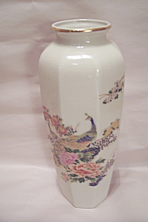 Satsuma Peacock & Flower Decorated Porcelain Vase
