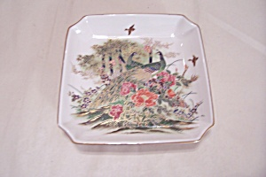 Omc Porcelain Peacock & Flower Decorated Tray