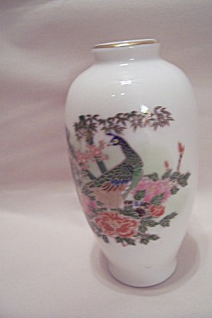 Omc Porcelain Peacock Amp Flower Decorated Vase Porcelain