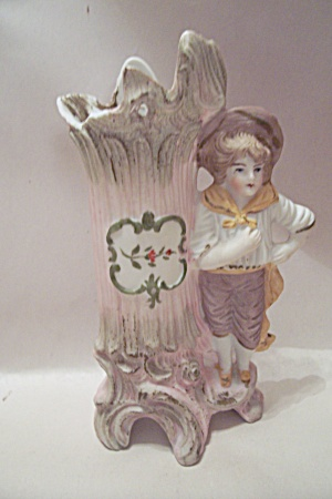 Colonial Boy & Tree Stump Cache Pot Figurine