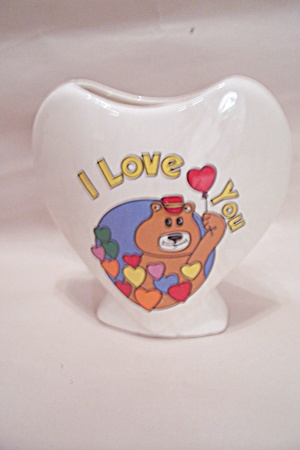 Porcelain Heart Shaped I Love You Vase
