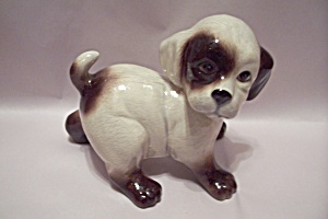 Brown & Light Tan Porcelain Dog Figurine