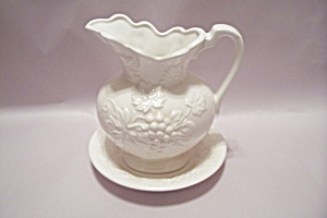 ARDCO White Porcelain Grape Pattern Pitcher/ UnderPlate (Image1)