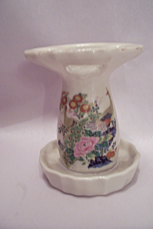 Japanese Porcelain Peacock Decorated Toothbrush Holder