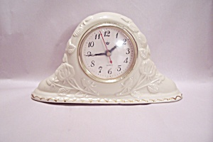 Porcelain Floral Decorated Quartz Mantle Clock