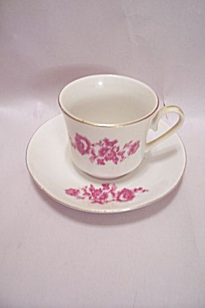Chinese Porcelain Red Flowers Demitasse Cup & Saucer
