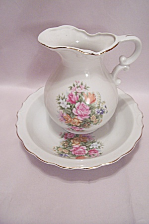Porcelain Rose Decorated Pitcher & Bowl Set
